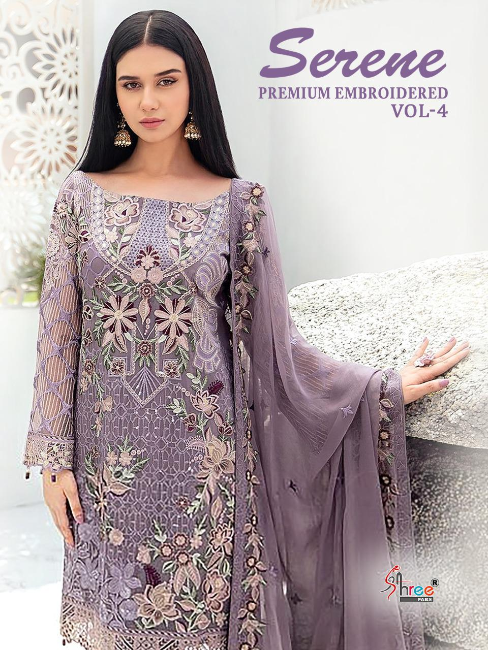 Shree Fab Serene Premium Embroiderd Vol 4 Georgette With Heavy Embroidery Work Pakistani Pattern Suits Wholesale