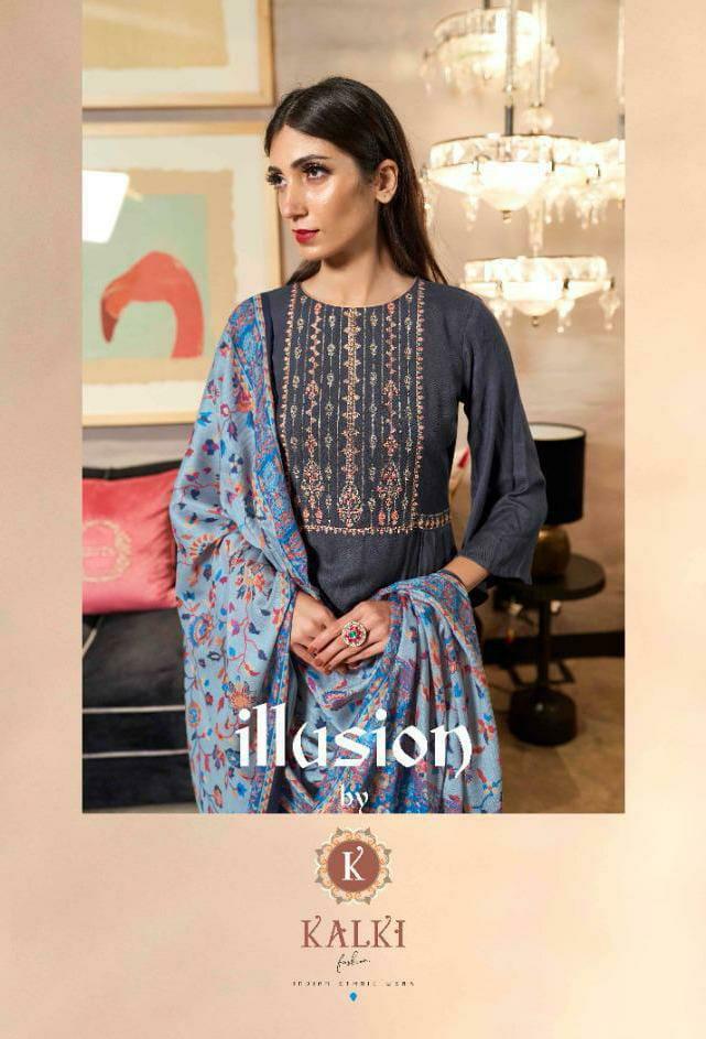 Kalki Fashion Illusion Designer Pashmina Digital Style Printed With Shawl Dupatta Suits Wholesale