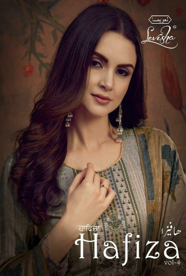 Levisha Hafiza Vol 4 Designer Pashmina Printed Embroidery Work Suits In Best Wholesale Rate