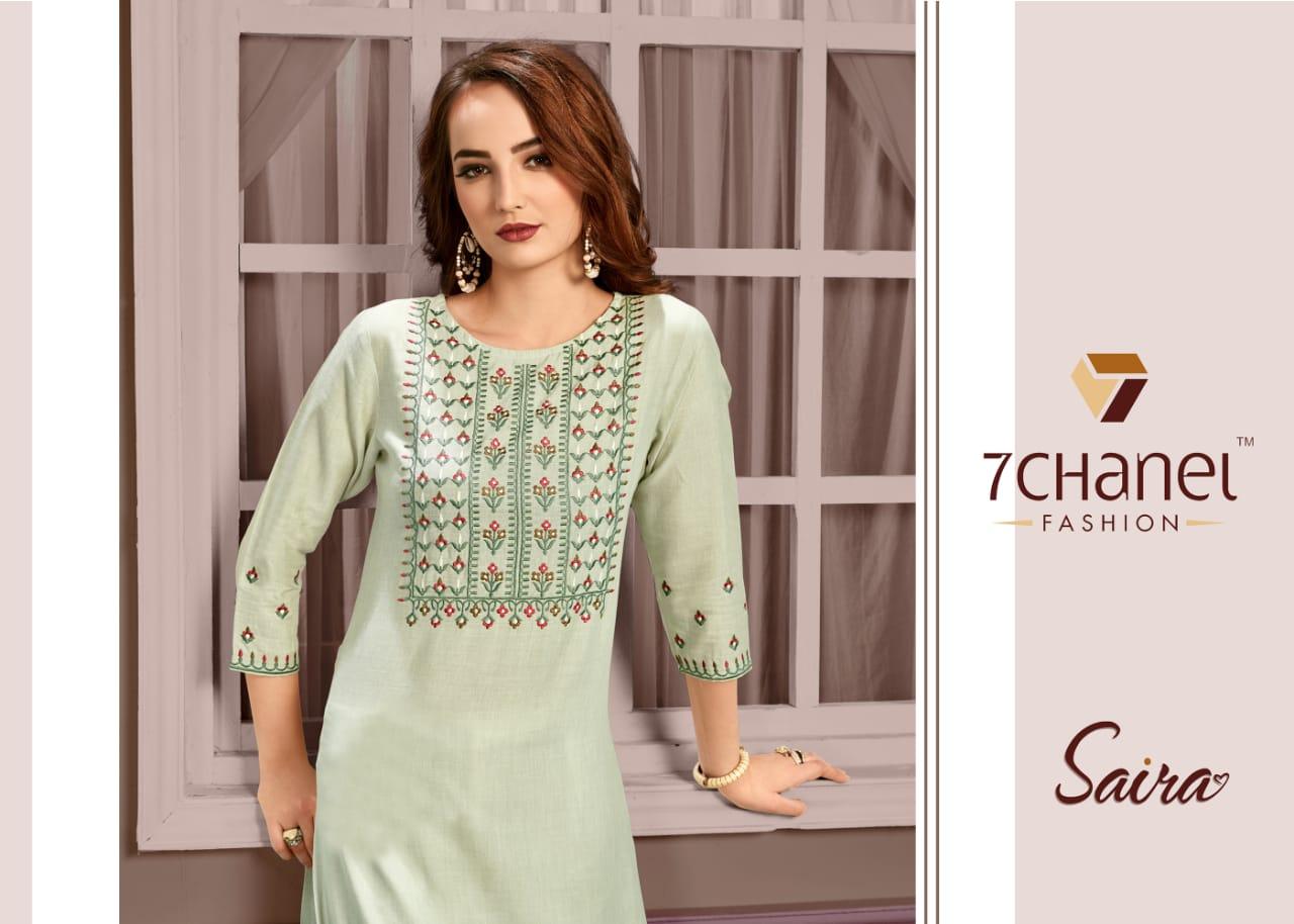 7 Chanel Saira Designer Cotton Fancy Embroidery Work Kurtis Wholesale