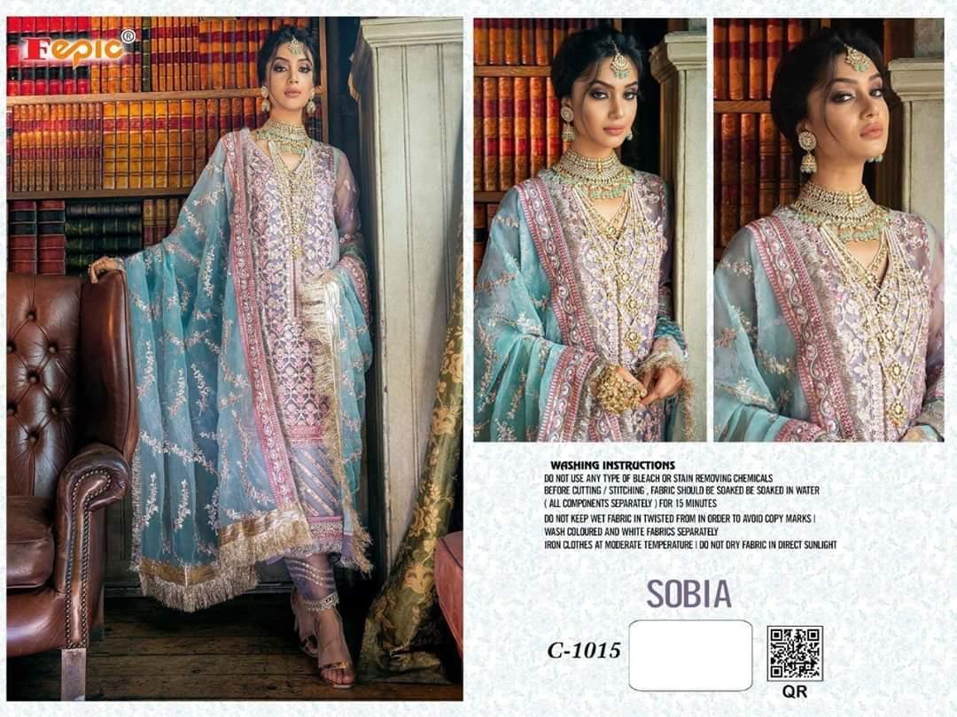 Fepic 1015 Sobia Designer Organza Embroidery Work Pakistani Pattern Suit Single