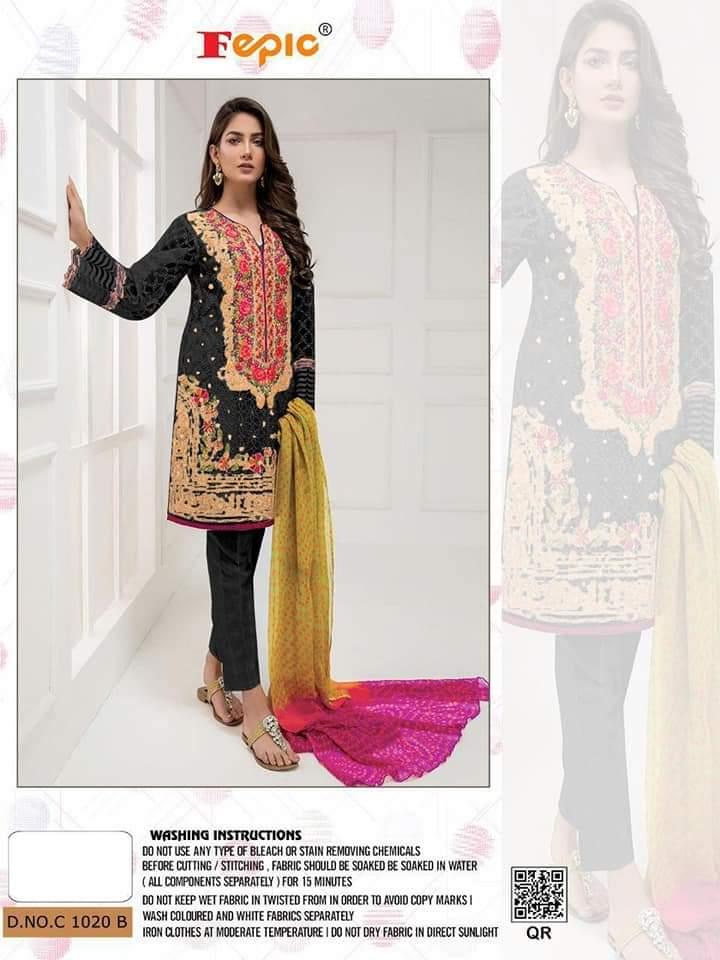 Fepic C 1020 Designer Organza Embroidery Work Occasional Wear Pakistani Replica Suits Single