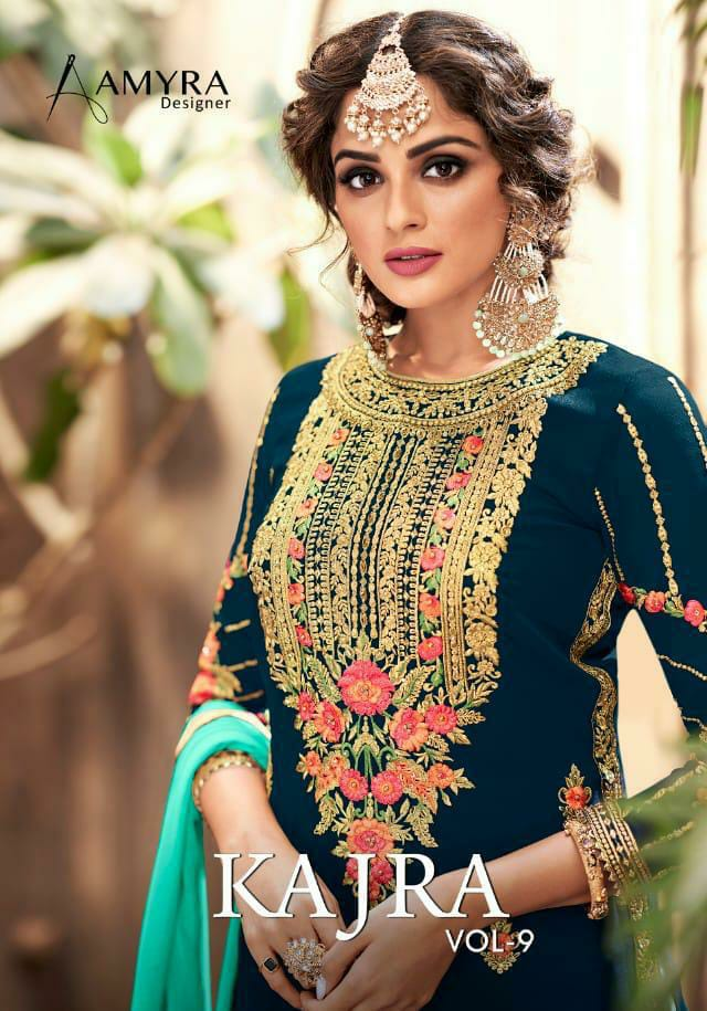 Amyra Designer Kajra Vol 9 Designer Georgette With Heavy Embroidery And Diamond Work Bridal Wear  Suits Wholesale