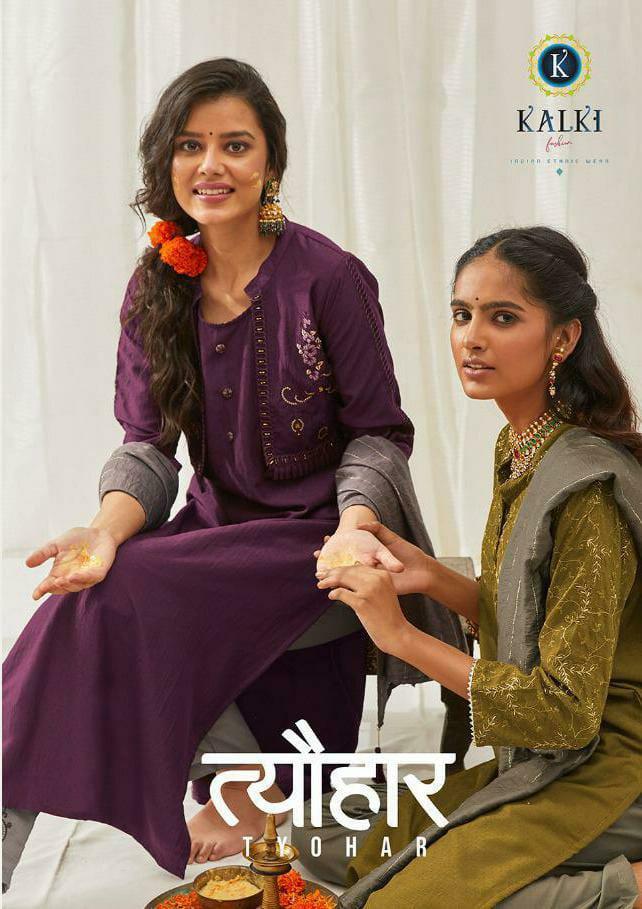 Kalki Fashion Premium Festive Wear Collection Designer Chinon Silk Embroidery Work Festival Wear Collection Suits Wholesale