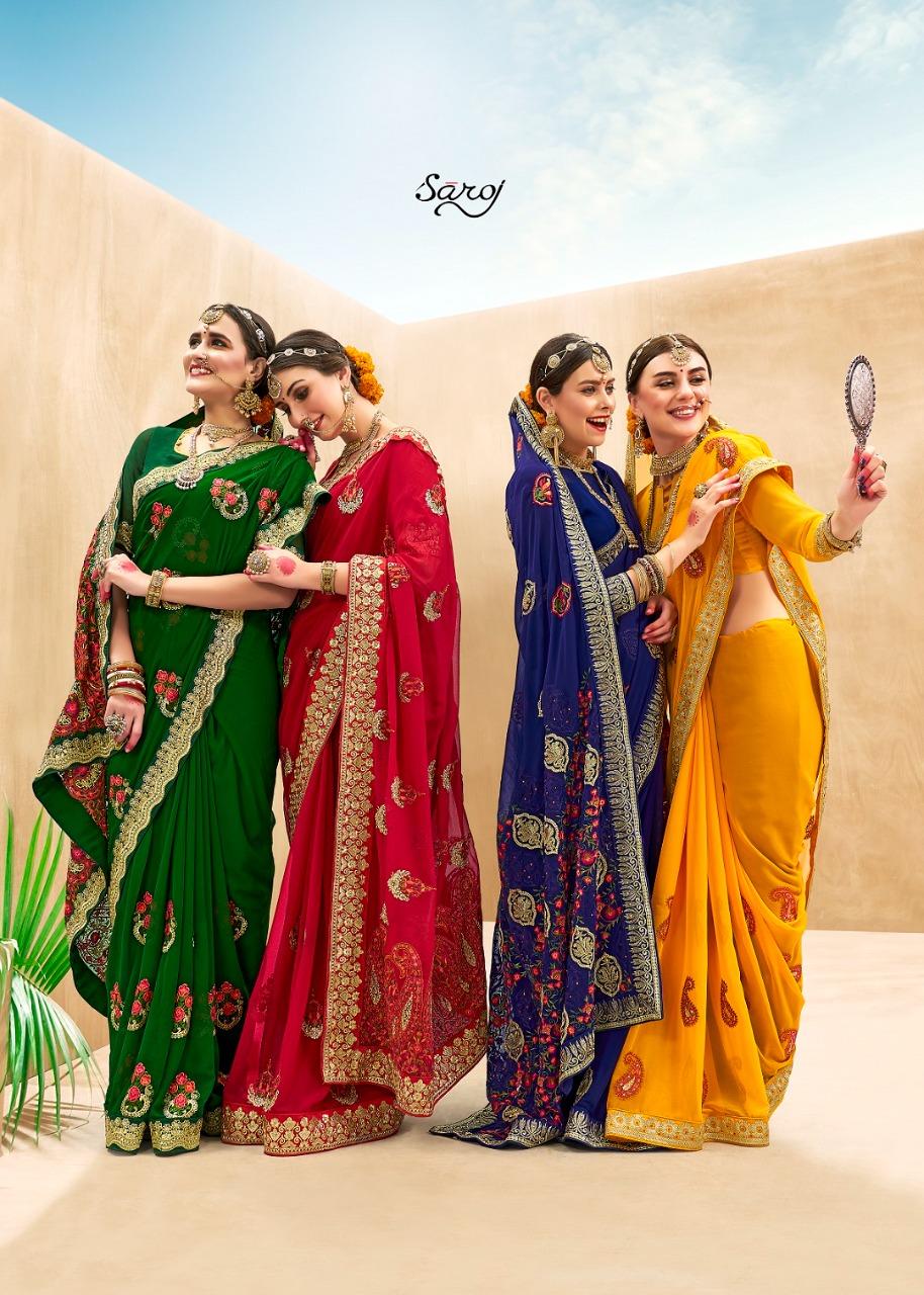 Saroj Sakhi Designer Georgette With Heavy Embroidery Work Partywear Sarees Wholesale