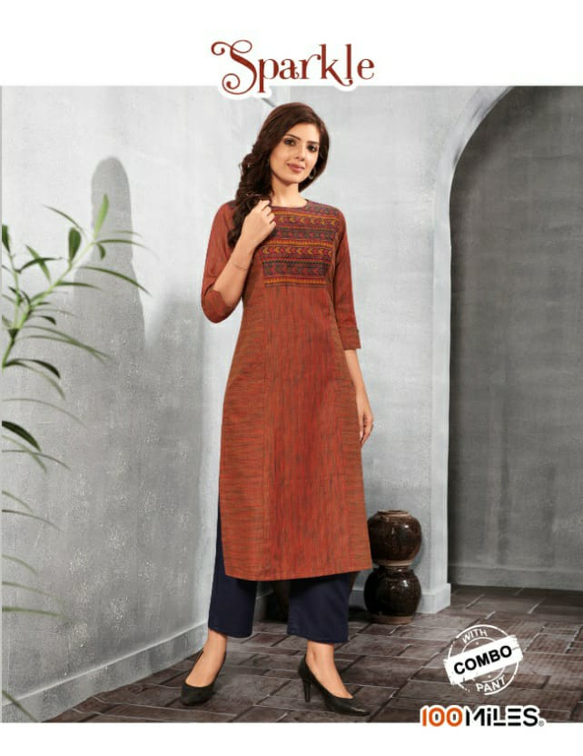 100 Miles Sparkle With Bottom Combo Designer Long Embroiderd Kurtis With Pants Wholesale