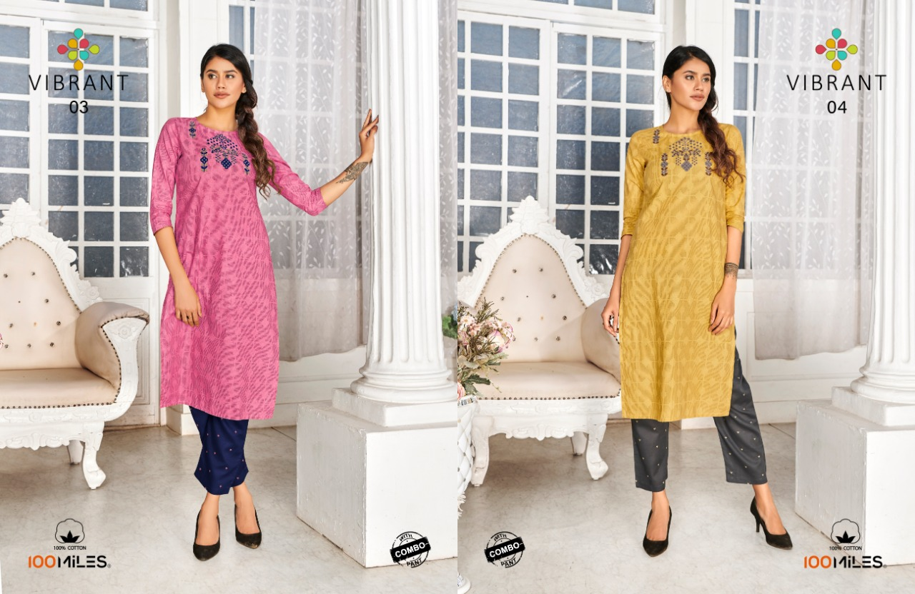 100 Miles Vibrant With Bottom Combo Designer Cotton Embroiderd Kurtis With Pants Wholesale