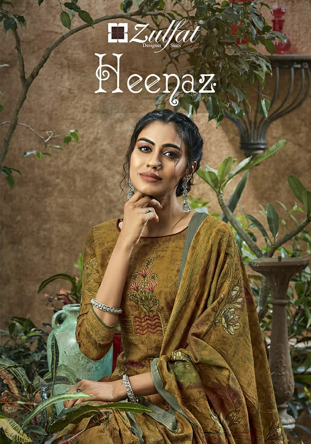Zulfat Designer Heenaz Designer Pashmina Printed With Heavy Embroidery Work Suits Wholesale
