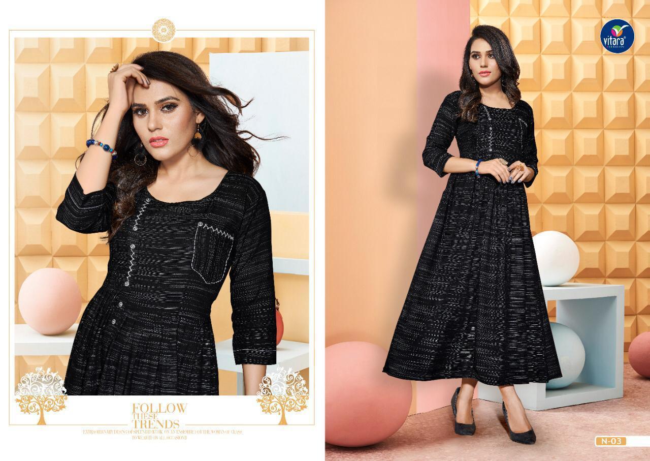 Vitara Fashion Natural Vol 3 Designer Heavy Rayon Long Kurtis Wholesale