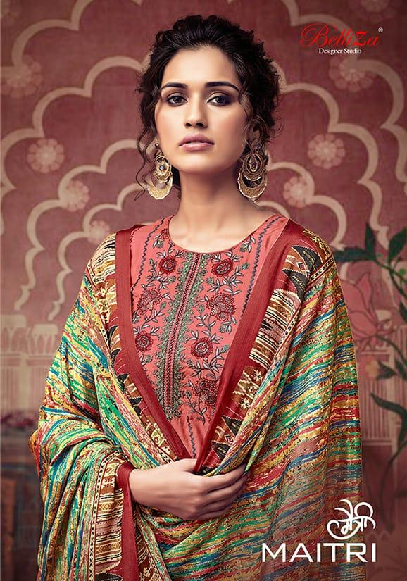 Belliza Maitri Designer Tusser Silk With Heavy Embroidery Work Suits Wholesale