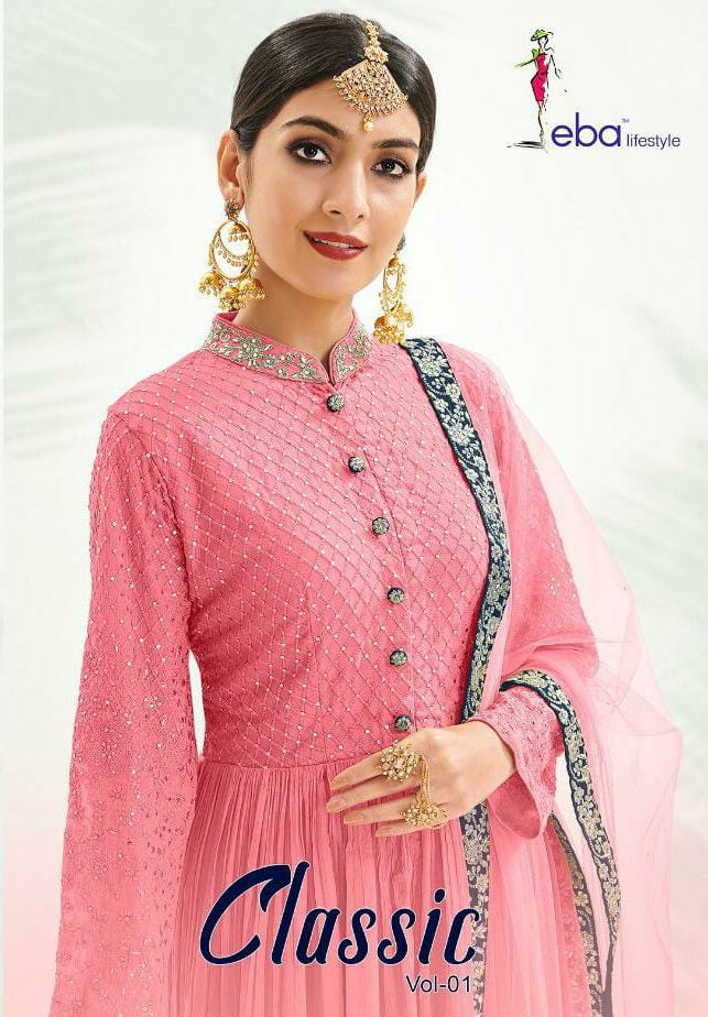 Eba Lifestyle Classic Vol 1 Chinon With Embroidery Work Partywear Plazzo Suits Wholesale