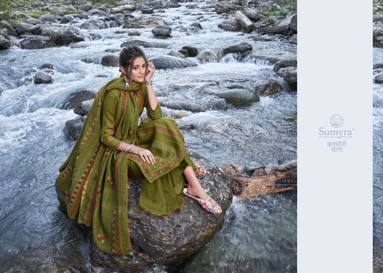 Sumyra Kashmiri Dhaga Designer Pashmina Printed Winter Wear Suits Wholesale