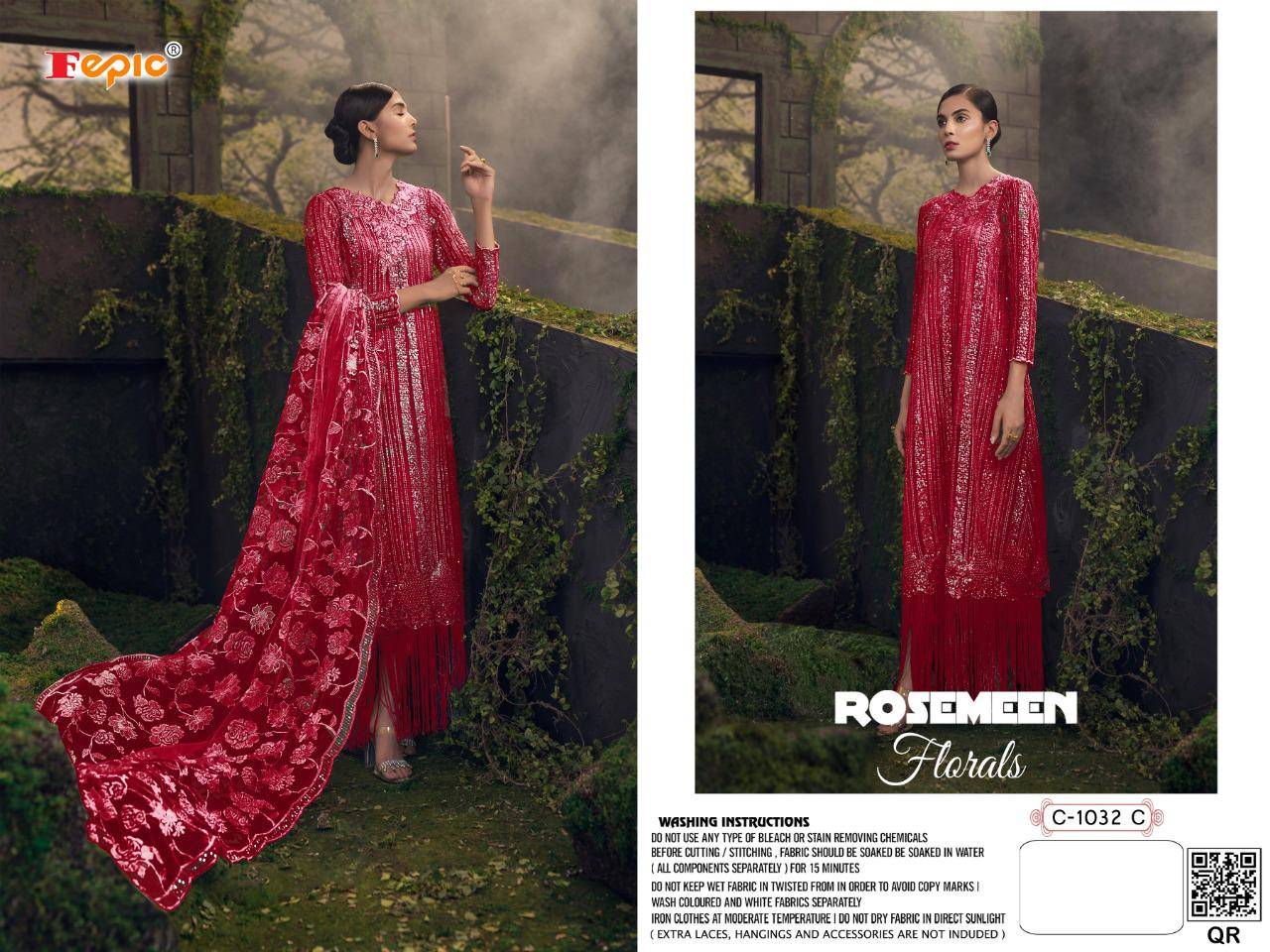 Fepic Rosemeen Florals Net Heavy Embroidery Work Suits Wholesale