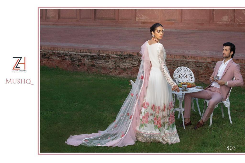 Zaura Hassan Mushq Designer Fox Georgette With Heavy Embroidery Work Pakistani Pettern Suits Wholesale