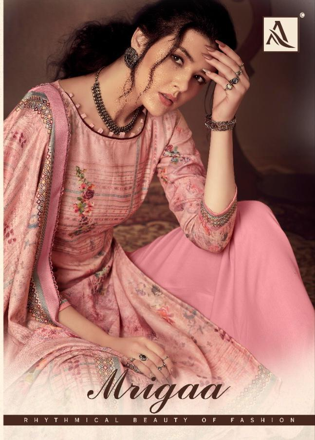 Alok Suits Mrigaa Designer Pashmina Digital Printed Swarovski Work Suits Wholesale