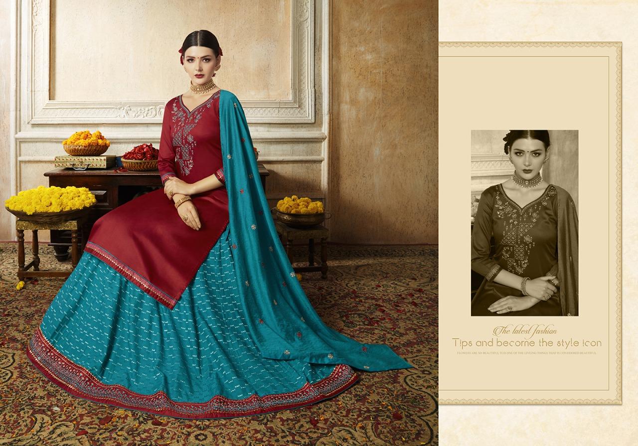 Kivi Malang Designer Jam Silk Embroidery Work Sharara Stitch Partywear Suits Wholesale