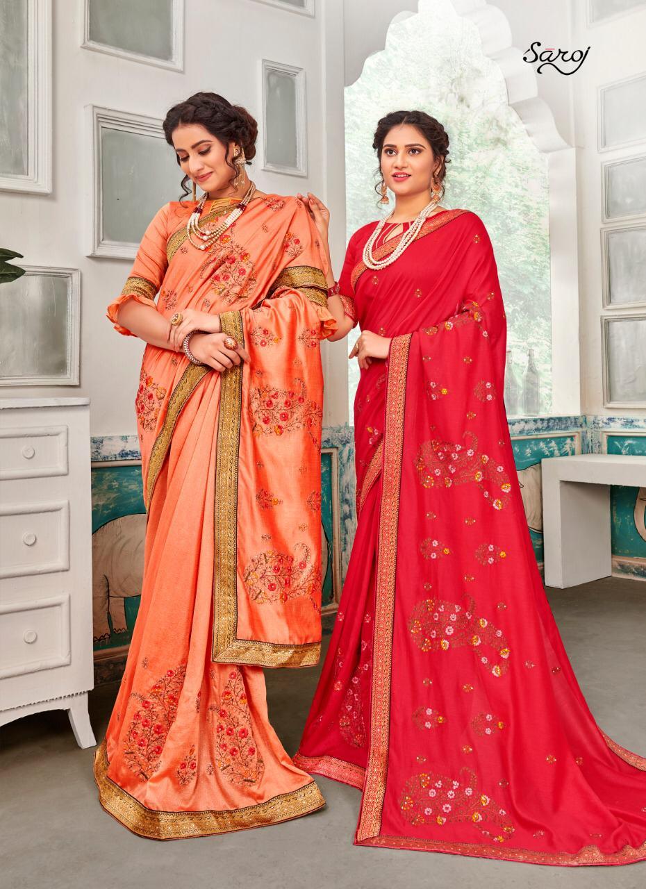 Saroj Sakhiya Designer Vichitra Dyed With Embroidery Work Sarees Wholesale