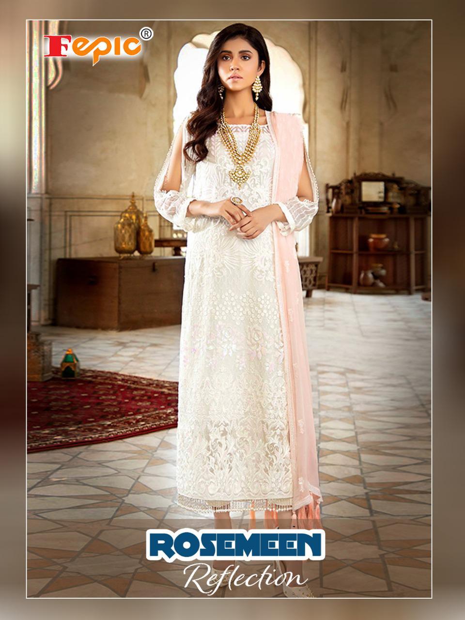 Fepic Rosemeen Reflection Designer Georgette Organza Pakistani Pettern Partywear Suits Wholesale