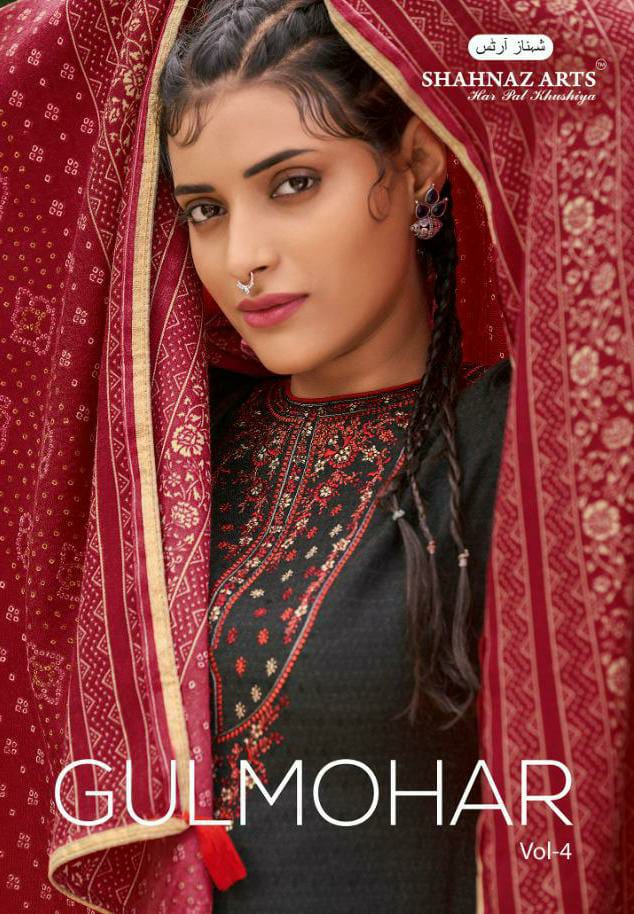 Shahnaz Arts Gulmohar Vol 4 Designer Pashmina Printed With Embroidery Work Suits Wholesale