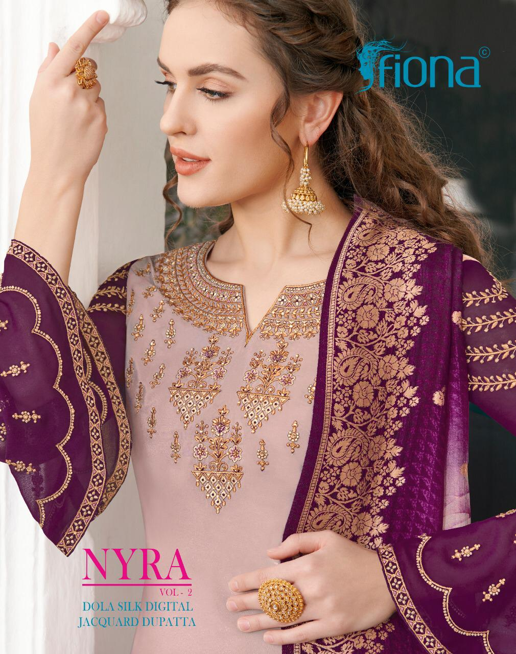 Fiona Nyra Vol 2 Designer Silk Crepe With Designer Work Suits Wholesale