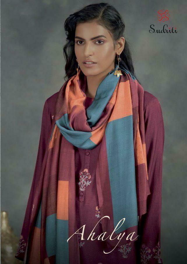 Sahiba Sudriti Ahalya Designer Pashmina Digital Print With Mirror Work Suits Wholesale