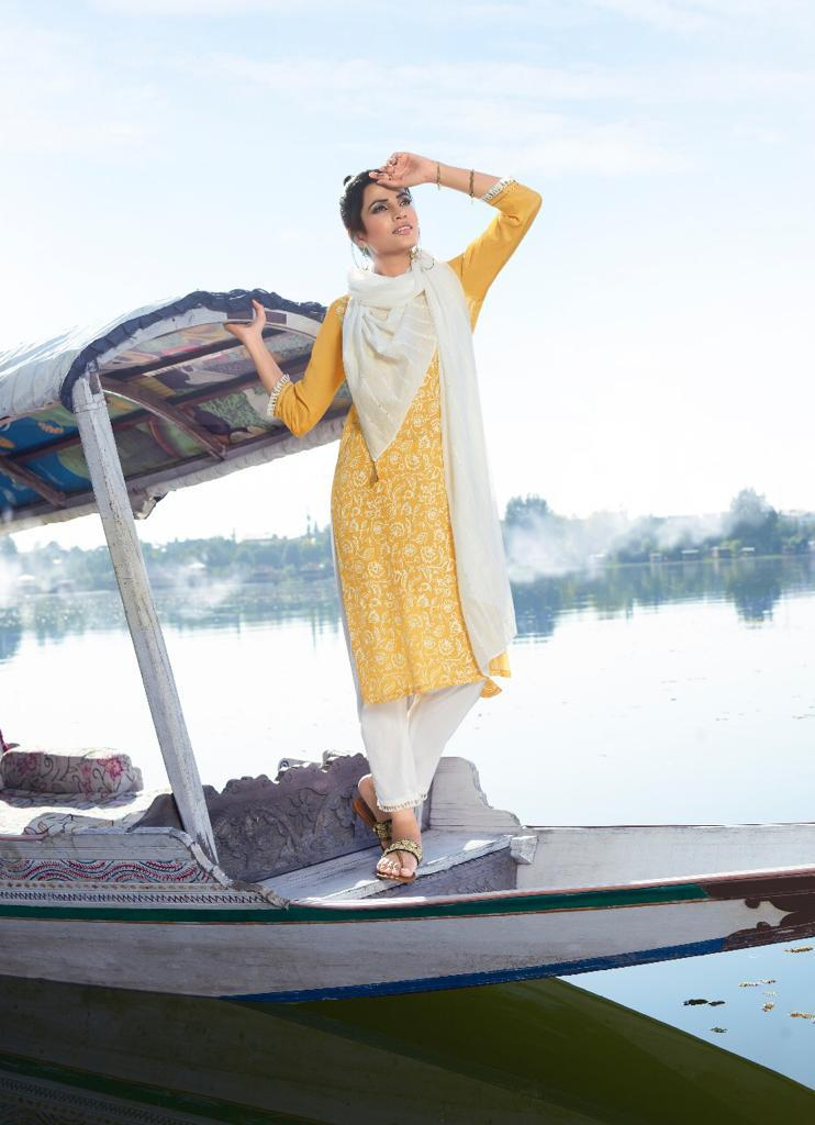 Four Buttons Four Gems 2 Designer Viscose Lucknowi Print With Cotton Pants And Viscose Chanderi Dupatta Wholesale