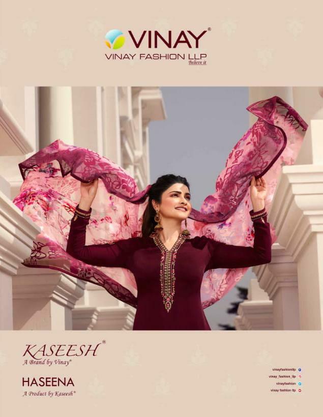 Vinay Fashion Kasheesh Haseena Designer Tusser Satin With Brasso Dupatta Suits Wholesale
