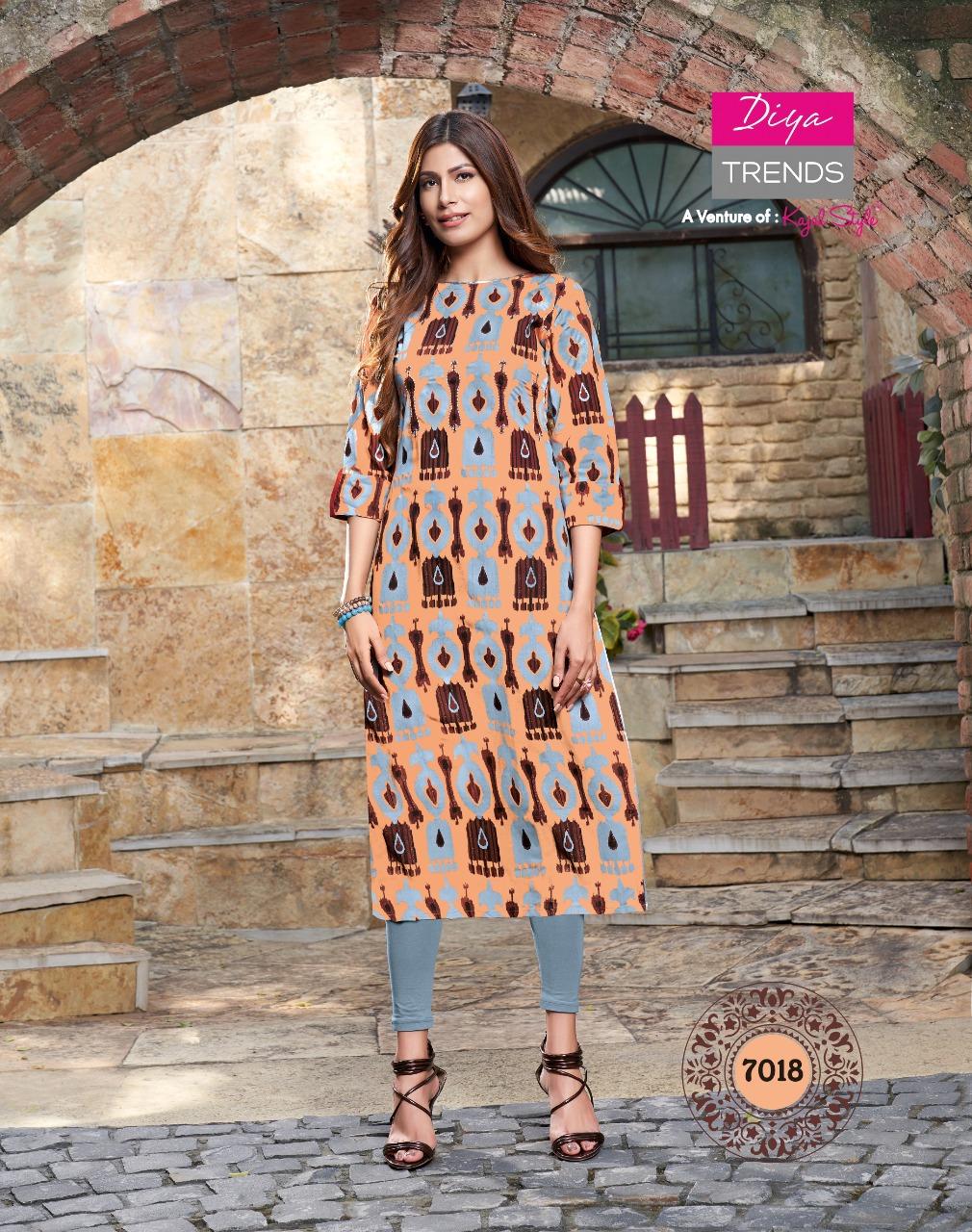 Diya Trendz Gardencity Vol 7 Designer Rayon Print With Embroidery Work Strength Kurtis Wholesale