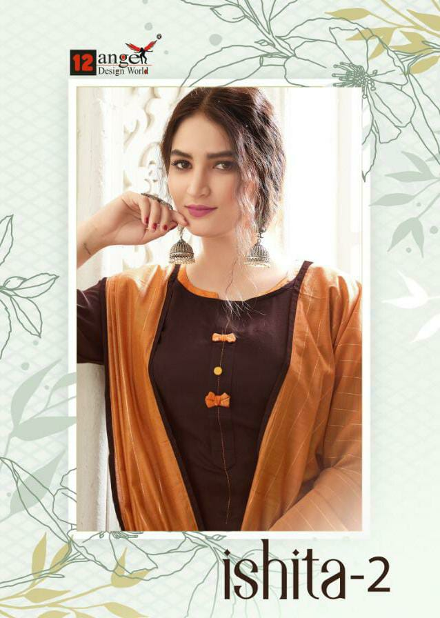12 Angel Ishita 2 Designer Stitch Rayon Kurti With Cotton Pant And Dupatta In Best Wholesale Rate