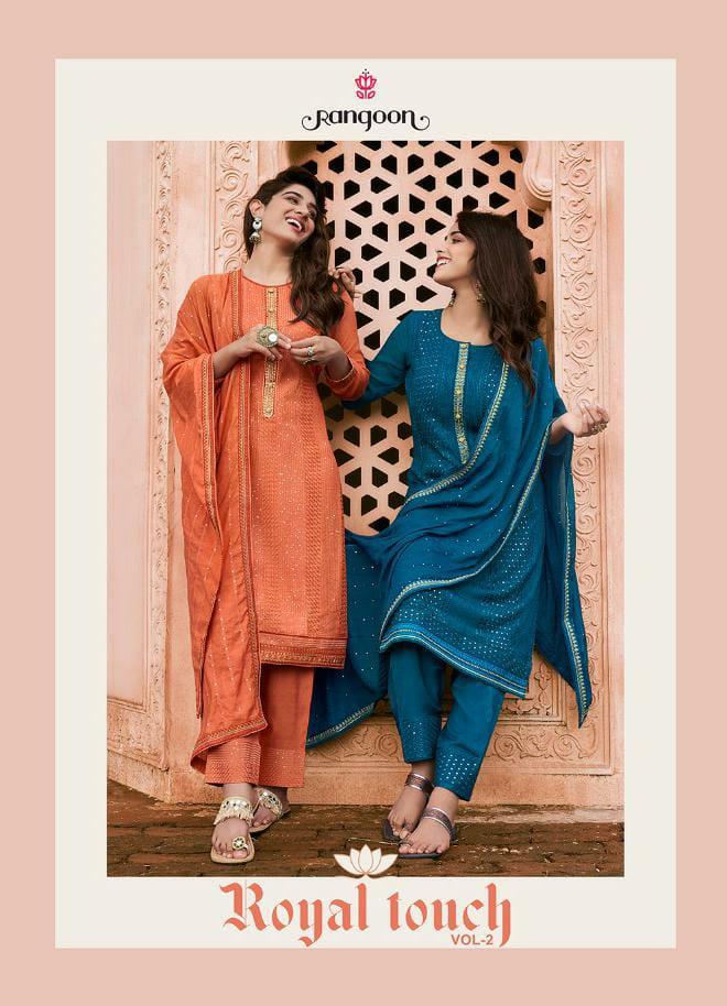 Rangoon Royal Touch Vol 2 Designer Bemberg Lucknowi Work Stitch Suits Wholesale