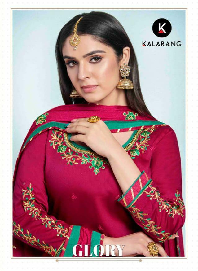 Kalarang Glory Designer Jam Silk Cotton With Embroidery Work Suits Wholesale
