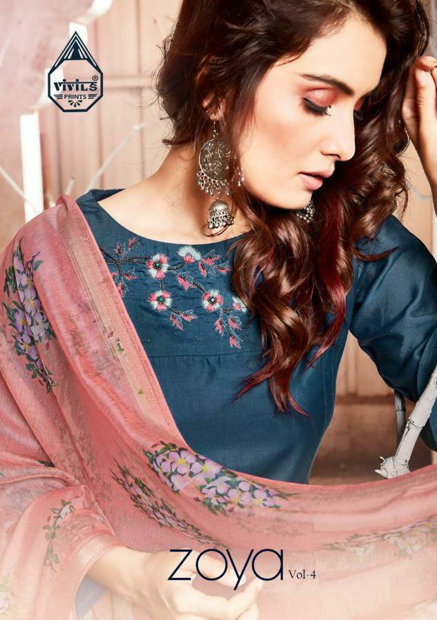 Vivils Silk Mills Zoya 4 Designer Viscose Muslin Cotton Lining Kurti With Viscose Dupatta Wholesale