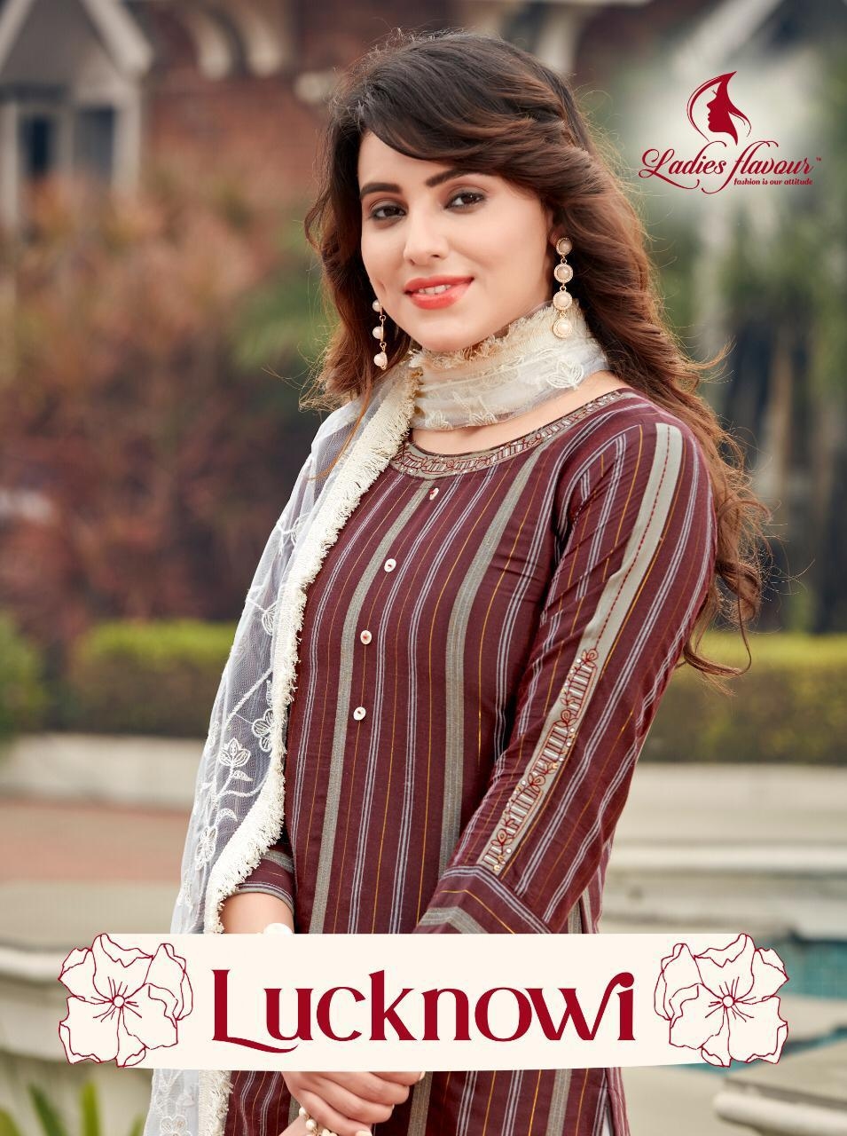 Ladies Flavour Lucknowi Designer Stitch Rayon Lurex Embroidery Work Kurti With Rayon Embroidery Work Bottom And Lucknowi Dupatta