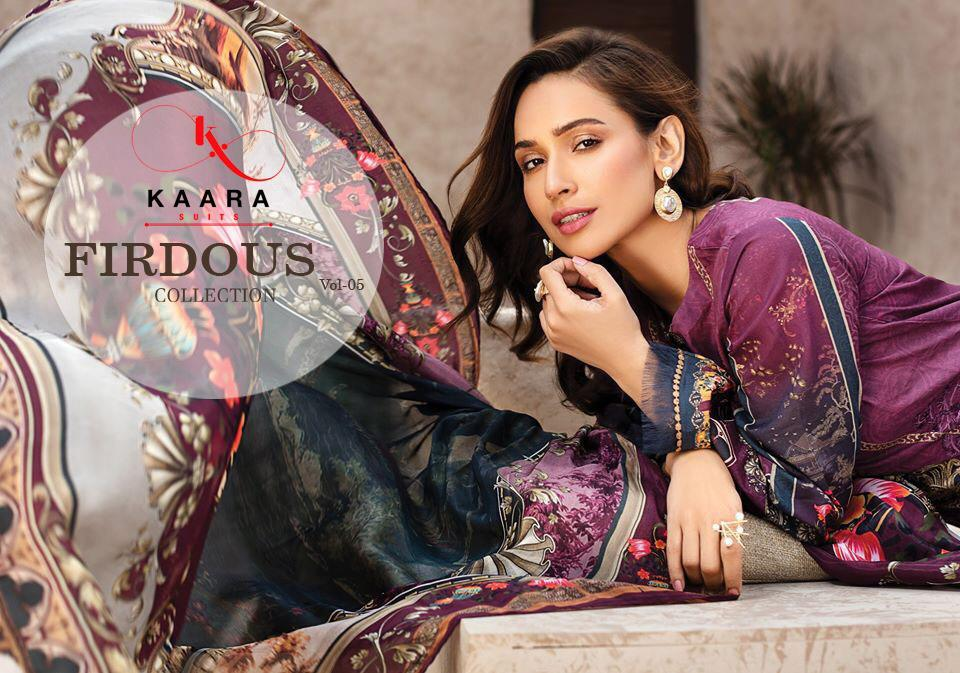 Kaara Suits Firdous Lawn Collection Vol 5 Designer Cotton. Digital Printed With Embroidery Work Suits Wholesale