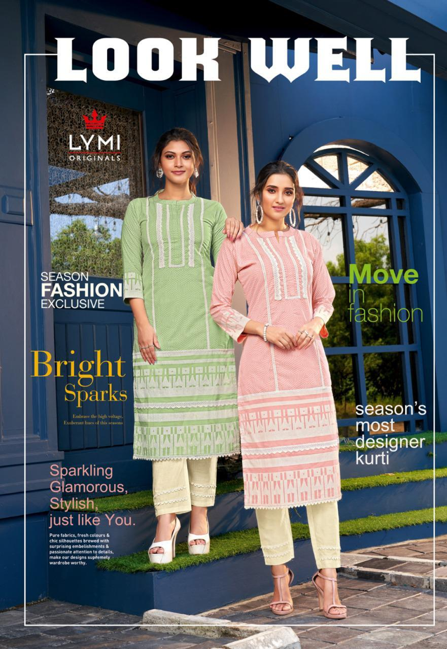 Kessi Lymi Look Well Designer Cotton Block Print Woth Shiffli Work Kurti With Cotton Less Pant In Best Wholesale Rate