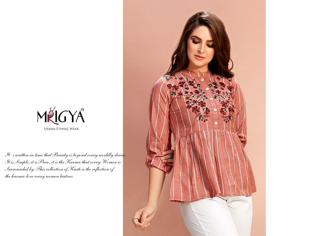 Mrigya Flora 4 Designer Cotton Handloom Embroidery Work Short Tops Wholesale