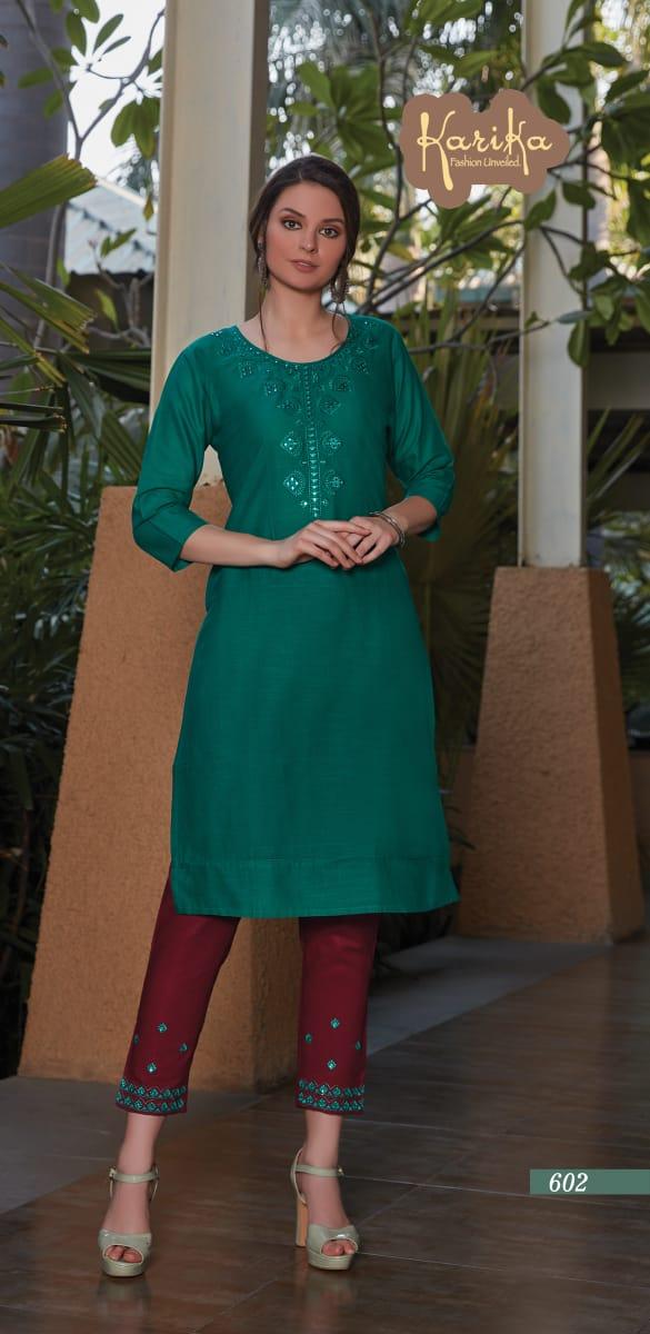 Karika Rosy Designer Cotton Slub Designer Kurtis Wholesale