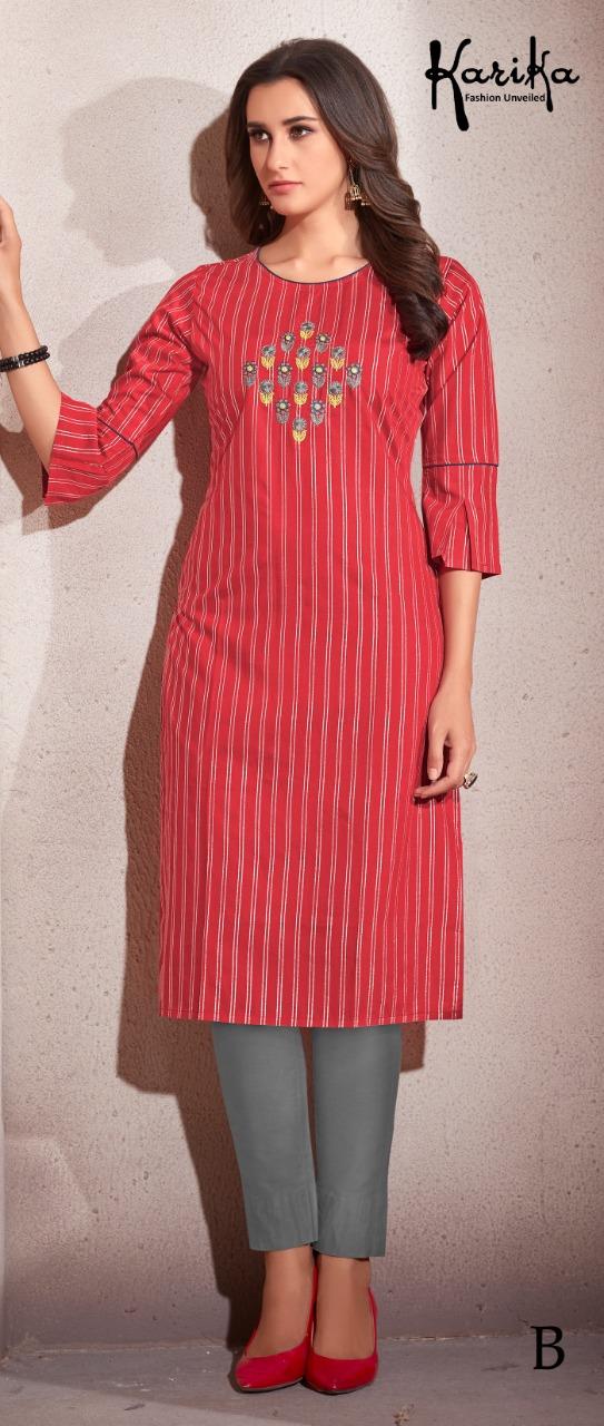 Karika Sparsh Designer Chanderi Lurex Embroidery Work Kurtis Wholesale