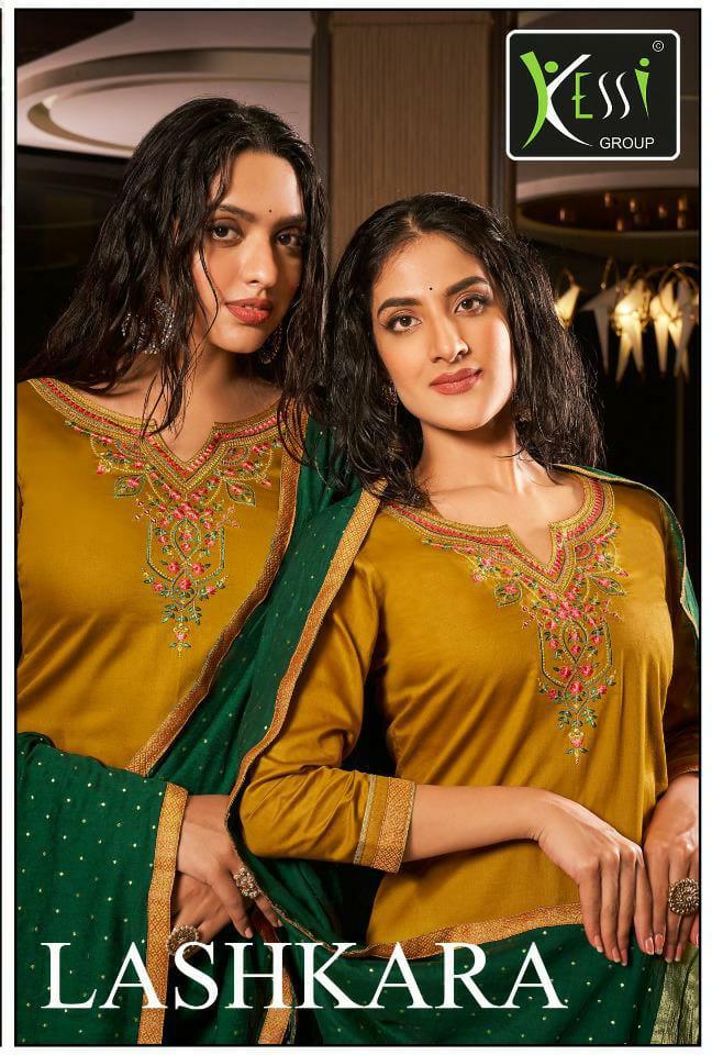 Kessi Lashkara Designer Jam Silk Embroidery Work Suits Wholesale