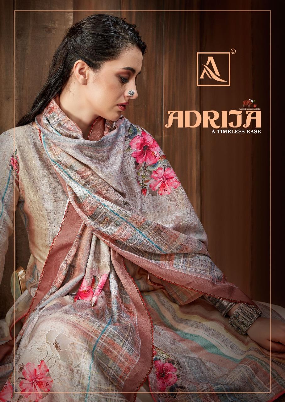 Alok Suits Adrija Designer Pashmina Wool Digital Printed Swarovski Work Suits Wholesale