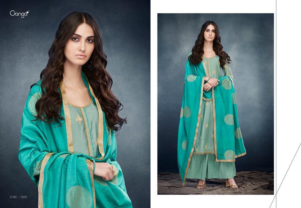 Ganga Erica Designer Kora Silk Banarasi Jacquard With Embroidery Handwork Suits Wholesale
