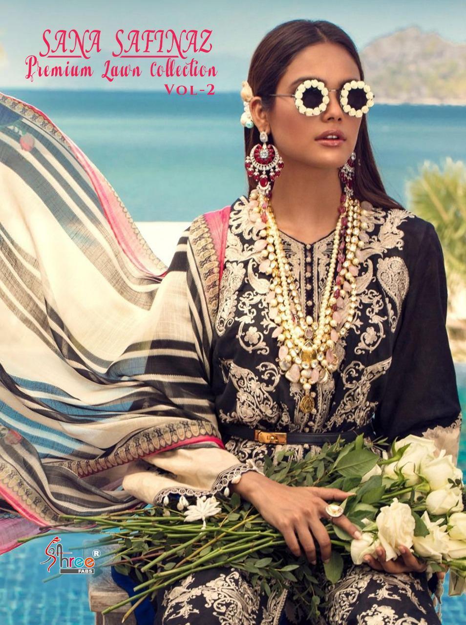 Shree Fab Sana Safinaz Premium Lawn Collection Vol 2 Designer Cotton Print With Embroidery Work Suits Wholesale