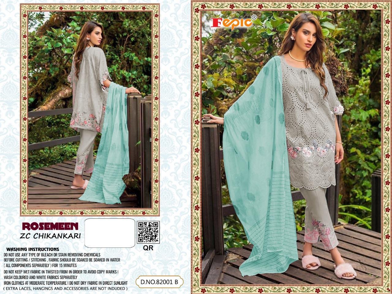Fepic Rosemeen Zc Chikankaari Designer Cotton Chikankaari Pakistani Pettern Suits Wholesale