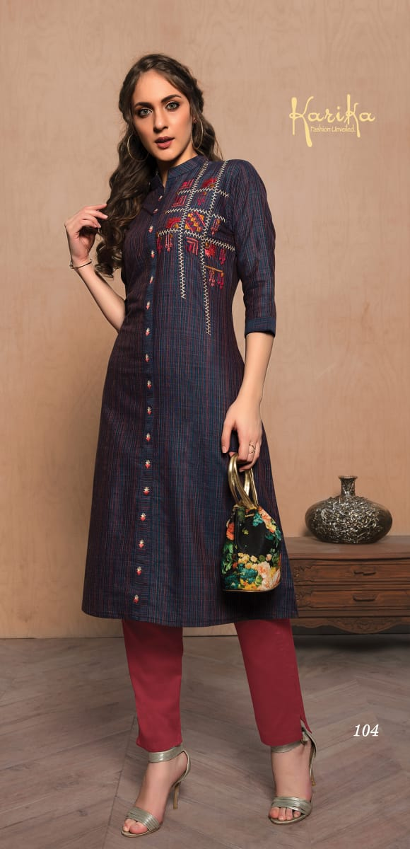 Karika Indigo Designer Cotton Handloom Embroidery Work Kurtis Wholesale