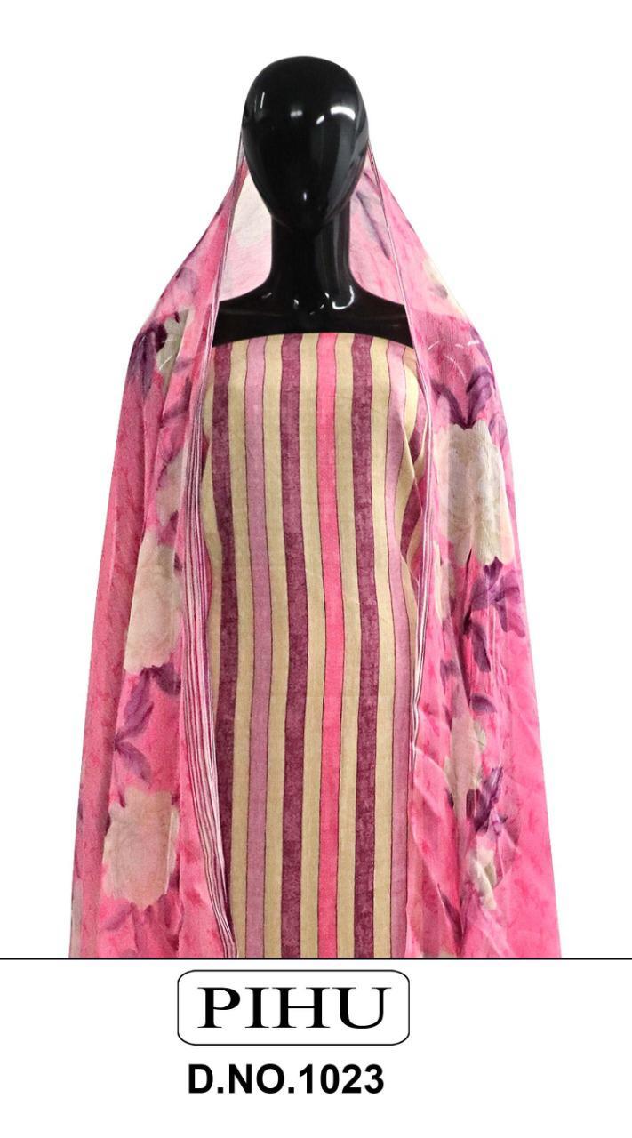 Pihu Pashmina Series 1023 Designer Pure Pashmina Printed Suits Wholesale