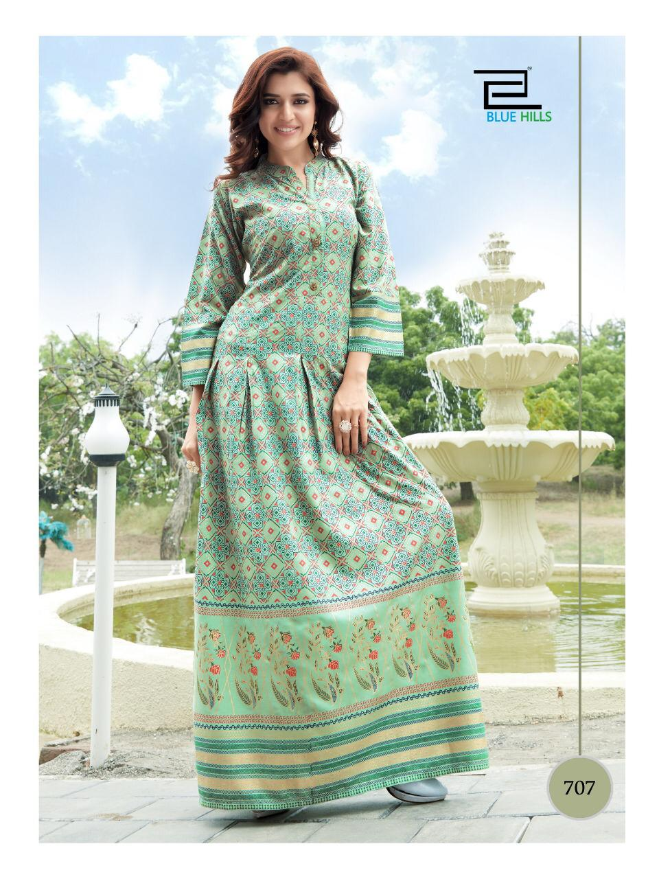Blue Hills Walkway Vol 7 Designer Rayon Foil Printed Gowns Wholesale