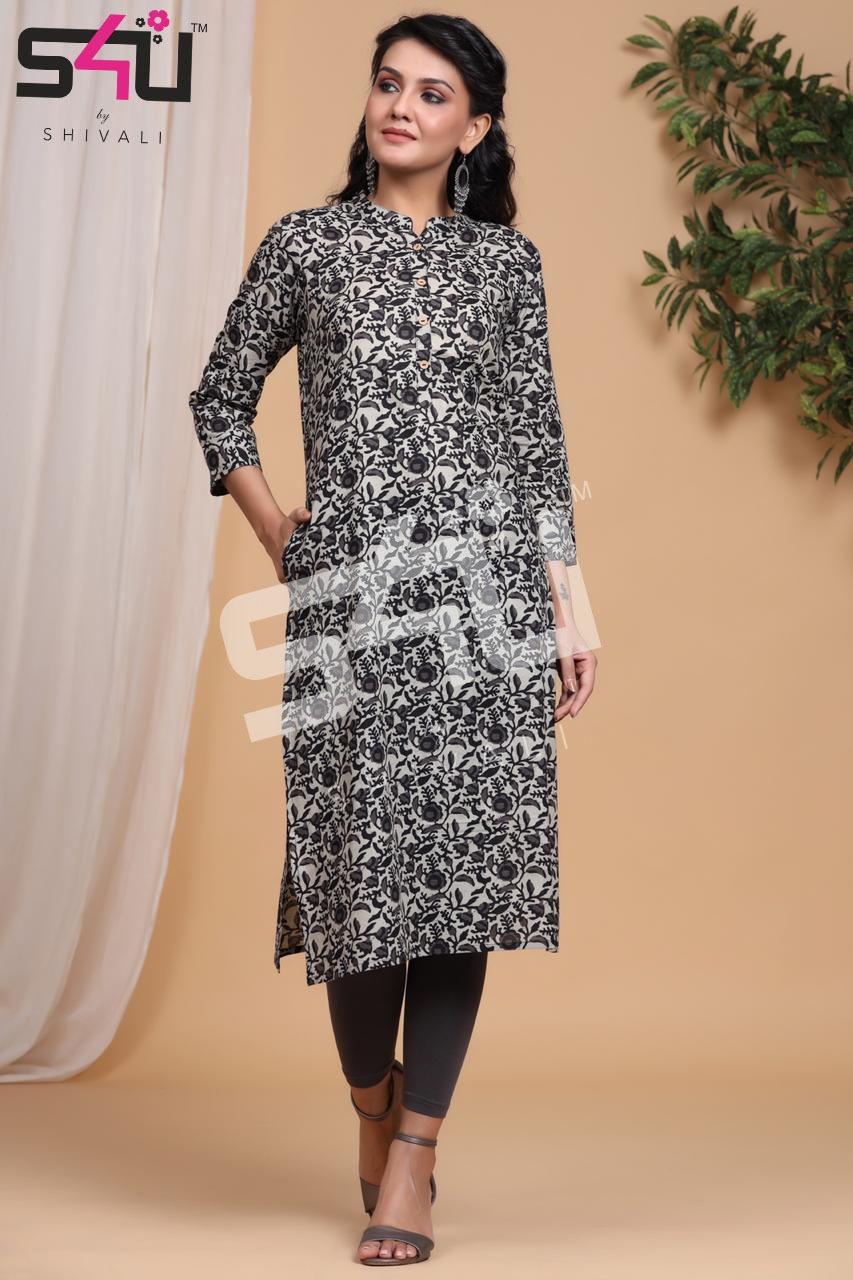 S4u Basix Designer Daily Wear Printed Kurtis Wholesale