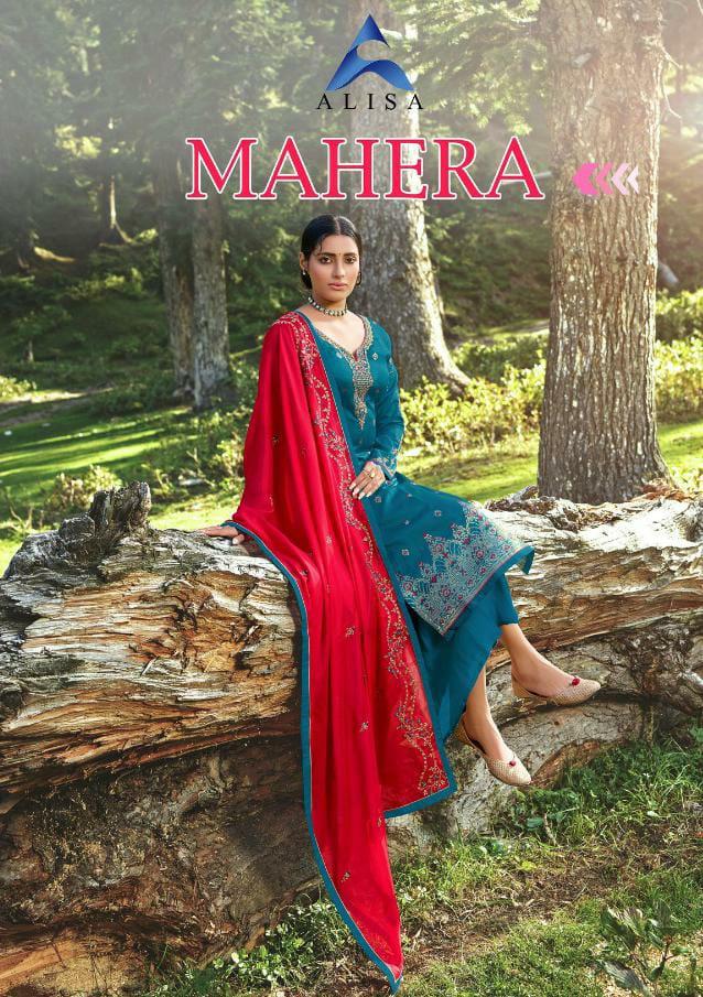 Alisa Mahera Jacard Designer Silk Jacquard Heavy Handwork Embroidery Work Suits Wholesale