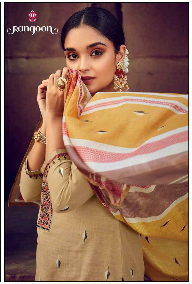 Rangoon Symboll Designer Viscose Weaving Butti Cotton Work Stitch Suits Wholesale