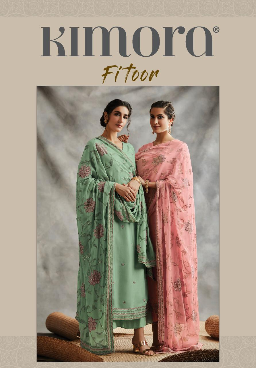 Kimora Heer Fitoor Chinon Chiffon Embroidery Work Suits Wholesale